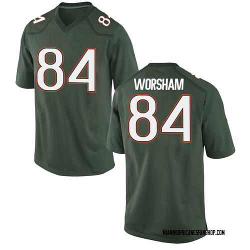 Men's Nike Dazalin Worsham Miami Hurricanes Game Green Alternate College Jersey