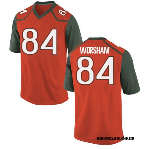 Men's Nike Dazalin Worsham Miami Hurricanes Replica Orange College Jersey
