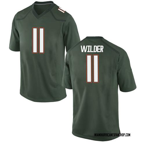 Men's Nike De'Andre Wilder Miami Hurricanes Replica Green Alternate College Jersey