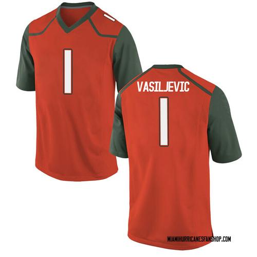 Men's Nike Dejan Vasiljevic Miami Hurricanes Game Orange College Jersey