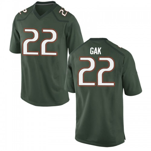 Men's Nike Deng Gak Miami Hurricanes Game Green Alternate College Jersey