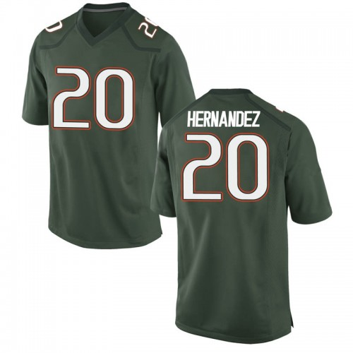 Men's Nike Dewan Hernandez Miami Hurricanes Game Green Alternate College Jersey