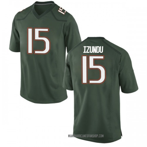 Men's Nike Ebuka Izundu Miami Hurricanes Game Green Alternate College Jersey