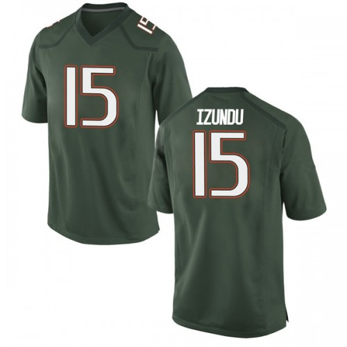 Men's Nike Ebuka Izundu Miami Hurricanes Replica Green Alternate College Jersey