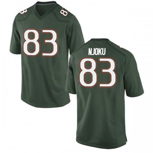 Men's Nike Evidence Njoku Miami Hurricanes Game Green Alternate College Jersey