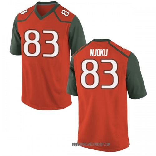 Men's Nike Evidence Njoku Miami Hurricanes Game Orange College Jersey