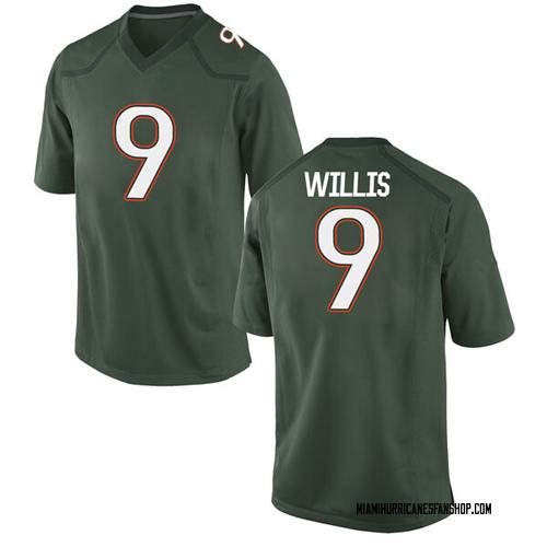 Men's Nike Gerald Willis III Miami Hurricanes Game Green Alternate College Jersey