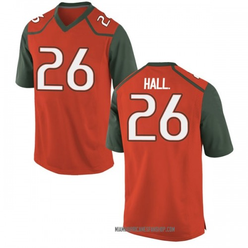 Men's Nike Gurvan Hall Jr. Miami Hurricanes Replica Orange College Jersey