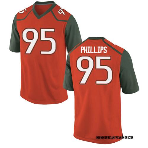 Men's Nike Jaelan Phillips Miami Hurricanes Game Orange College Jersey