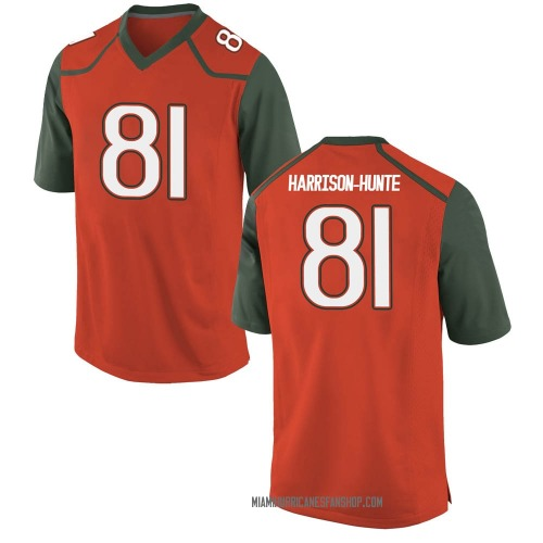 Men's Nike Jared Harrison-Hunte Miami Hurricanes Replica Orange College Jersey