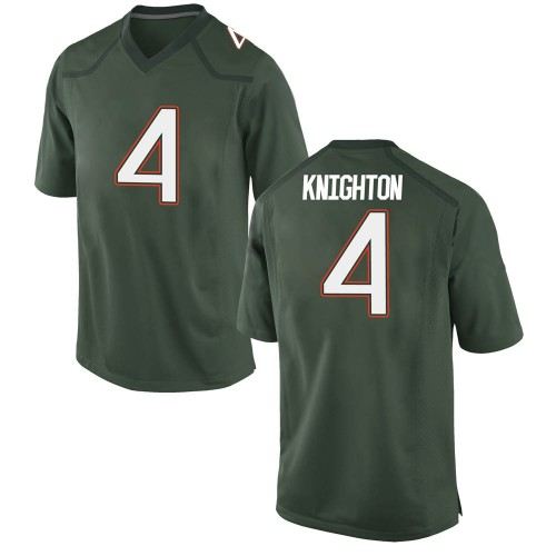 Men's Nike Jaylan Knighton Miami Hurricanes Game Green Alternate College Jersey