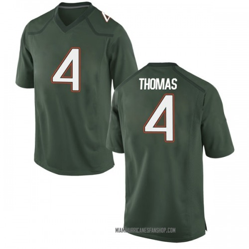 Men's Nike Jeff Thomas Miami Hurricanes Replica Green Alternate College Jersey