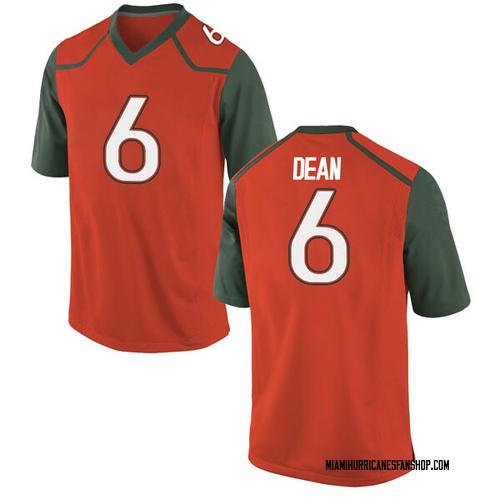 Men's Nike Jhavonte Dean Miami Hurricanes Game Orange College Jersey