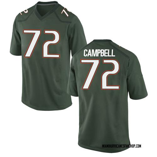 Men's Nike John Campbell Miami Hurricanes Game Green Alternate College Jersey