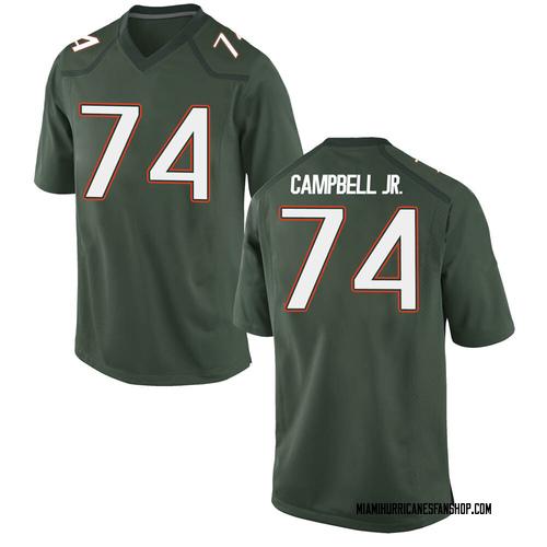 Men's Nike John Campbell Miami Hurricanes Replica Green Alternate College Jersey