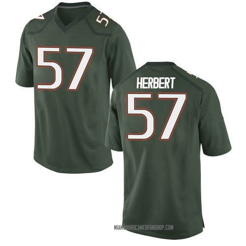 Men's Nike Kai-Leon Herbert Miami Hurricanes Game Green Alternate College Jersey
