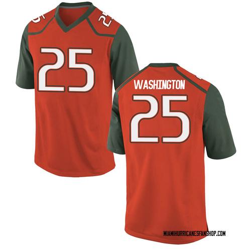 Men's Nike Keshawn Washington Miami Hurricanes Game Orange College Jersey