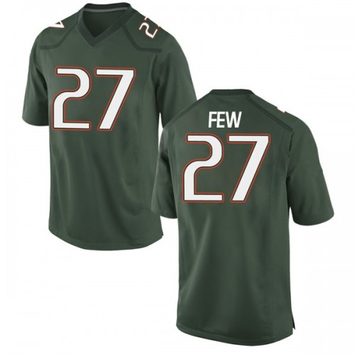 Men's Nike Marshall Few Miami Hurricanes Game Green Alternate College Jersey