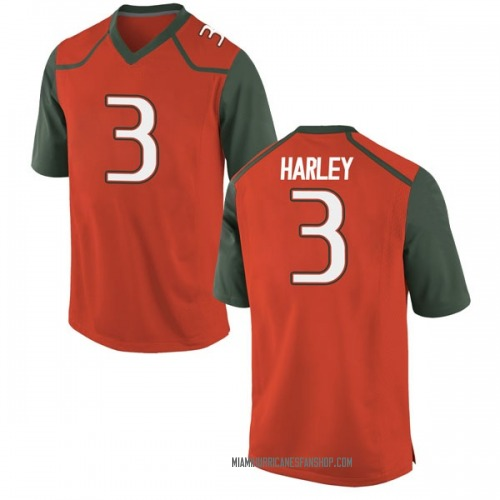 Men's Nike Mike Harley Miami Hurricanes Replica Orange College Jersey