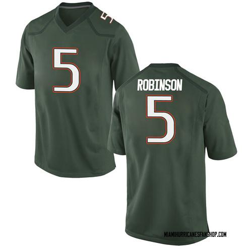 Men's Nike Mike Robinson Miami Hurricanes Game Green Alternate College Jersey