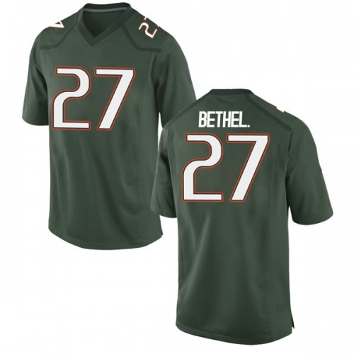 Men's Nike Nigel Bethel Jr. Miami Hurricanes Game Green Alternate College Jersey