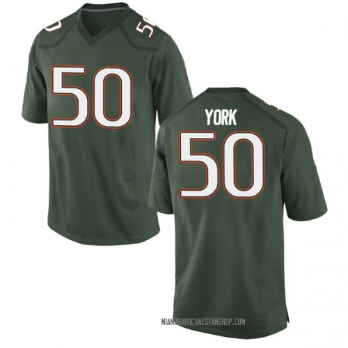 Men's Nike Sam York Miami Hurricanes Replica Green Alternate College Jersey