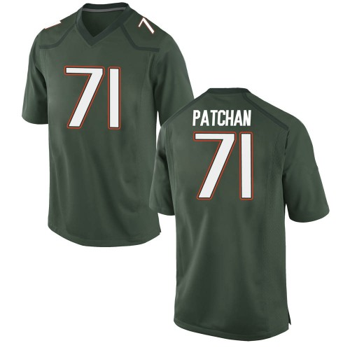 Men's Nike Scott Patchan Miami Hurricanes Game Green Alternate College Jersey