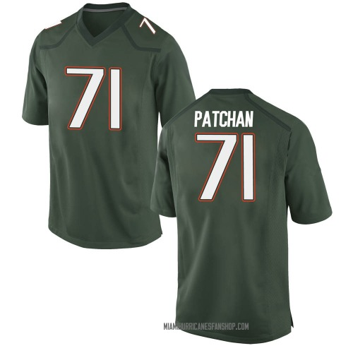Men's Nike Scott Patchan Miami Hurricanes Replica Green Alternate College Jersey