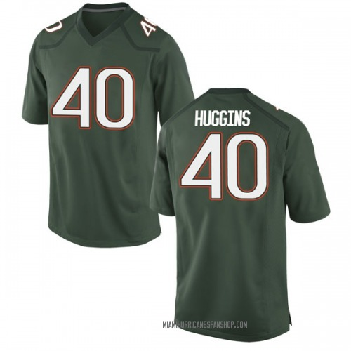 Men's Nike Will Huggins Miami Hurricanes Game Green Alternate College Jersey