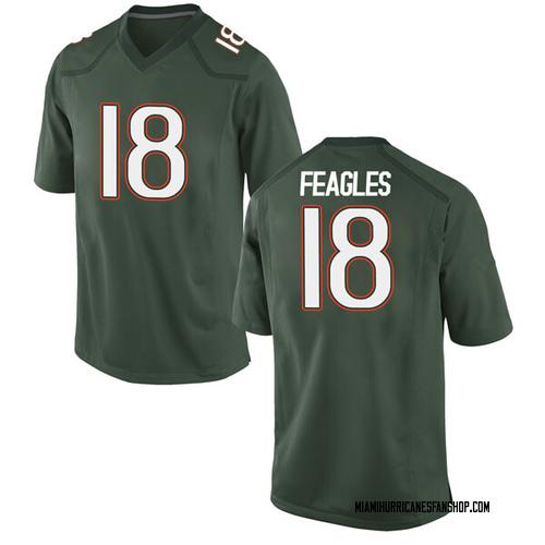 Men's Nike Zach Feagles Miami Hurricanes Game Green Alternate College Jersey