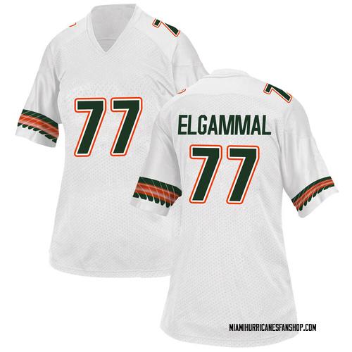 Women's Adidas Adam ElGammal Miami Hurricanes Replica White Alternate College Jersey