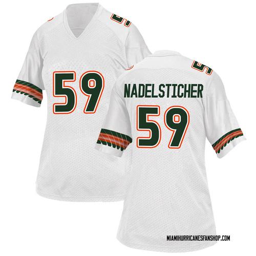 Women's Adidas Alan Nadelsticher Miami Hurricanes Game White Alternate College Jersey