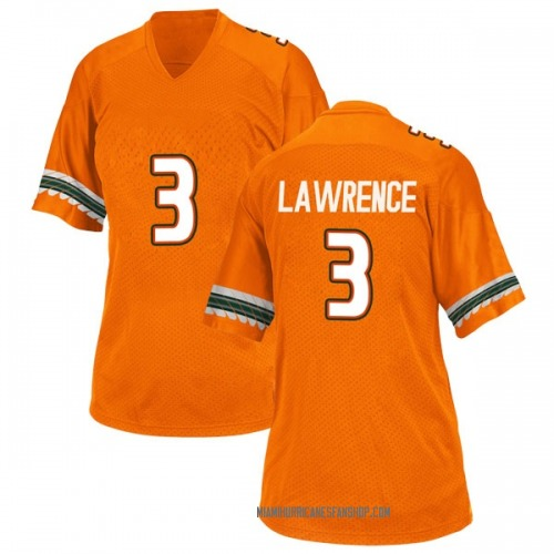 Women's Adidas Anthony Lawrence II Miami Hurricanes Replica Orange Alternate College Jersey