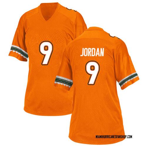 Women's Adidas Brevin Jordan Miami Hurricanes Replica Orange Alternate College Jersey