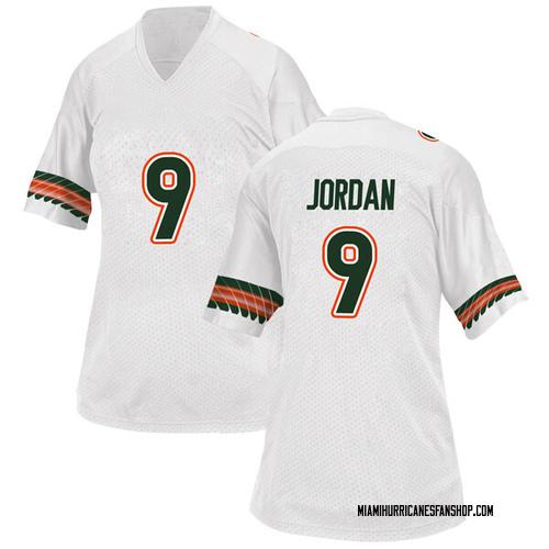 Women's Adidas Brevin Jordan Miami Hurricanes Replica White Alternate College Jersey