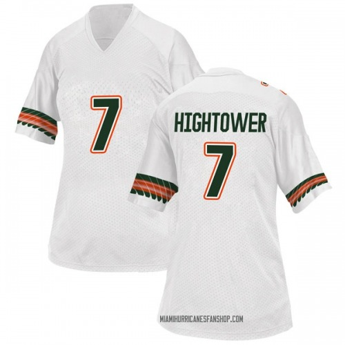 Women's Adidas Brian Hightower Miami Hurricanes Replica White Alternate College Jersey