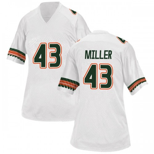 Women's Adidas Brian Miller Miami Hurricanes Game White Alternate College Jersey