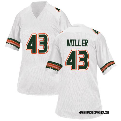 Women's Adidas Brian Miller Miami Hurricanes Replica White Alternate College Jersey