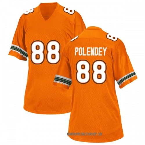 Women's Adidas Brian Polendey Miami Hurricanes Game Orange Alternate College Jersey