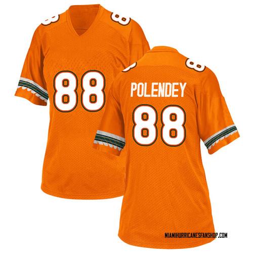 Women's Adidas Brian Polendey Miami Hurricanes Game Orange Alternate College Jersey