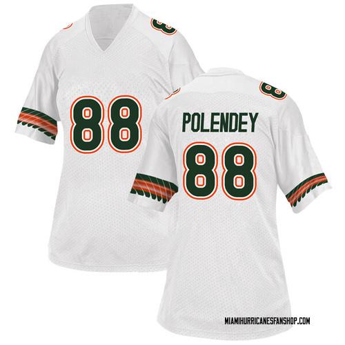 Women's Adidas Brian Polendey Miami Hurricanes Replica White Alternate College Jersey