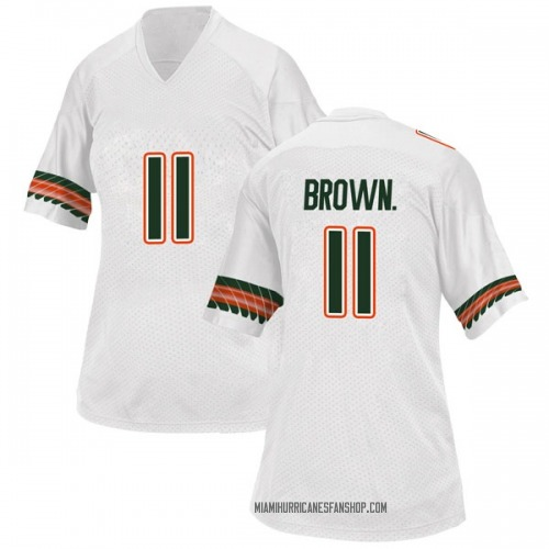 Women's Adidas Bruce Brown Jr. Miami Hurricanes Replica White Alternate College Jersey