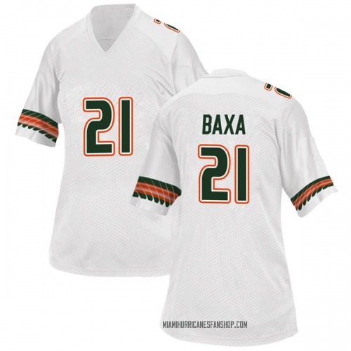 Women's Adidas Bubba Baxa Miami Hurricanes Game White Alternate College Jersey