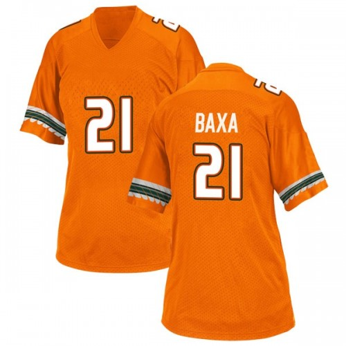 Women's Adidas Bubba Baxa Miami Hurricanes Replica Orange Alternate College Jersey