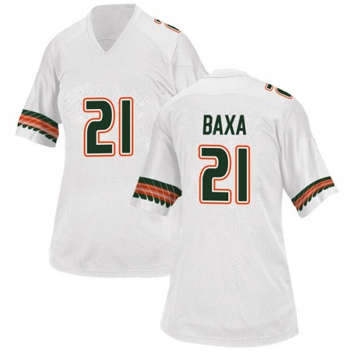 Women's Adidas Bubba Baxa Miami Hurricanes Replica White Alternate College Jersey