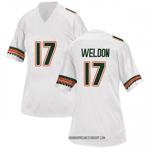 Women's Adidas Cade Weldon Miami Hurricanes Replica White Alternate College Jersey