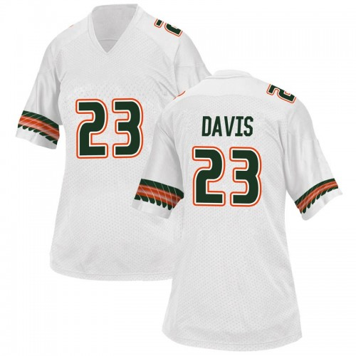 Women's Adidas Cam'Ron Davis Miami Hurricanes Replica White Alternate College Jersey