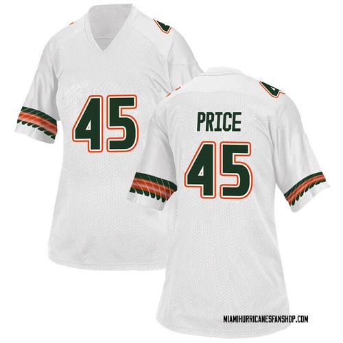 Women's Adidas Camden Price Miami Hurricanes Game White Alternate College Jersey