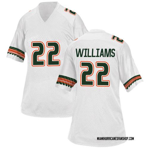 Women's Adidas Cameron Williams Miami Hurricanes Replica White Alternate College Jersey