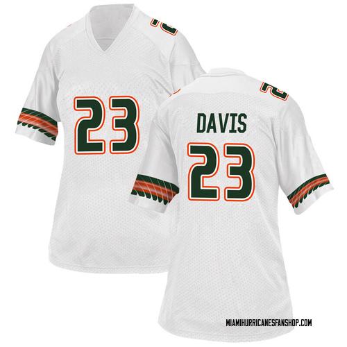 Women's Adidas Camron Davis Miami Hurricanes Game White Alternate College Jersey